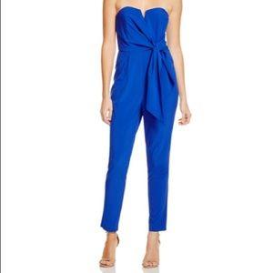 Royal blue sweetheart wrap jumpsuit